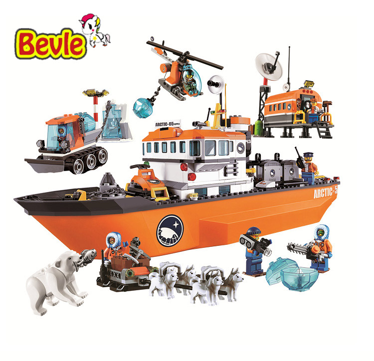 Bevle Bela 10443 Urban Arctic Series Snow Police Large Ice Breaker Ship Bricks Building Block Toys Compatible with Lepin compatible lepin city block police dog unit 60045 building bricks bela 10419 policeman toys for children 011