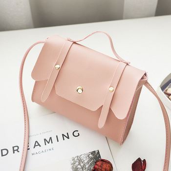 Women Shoulder Bag Pink Rivets Messenger Bag Korean Style Teenager Girls Small Pillow Mini Crossbody Bags For Women 2018 Handbag messenger bag
