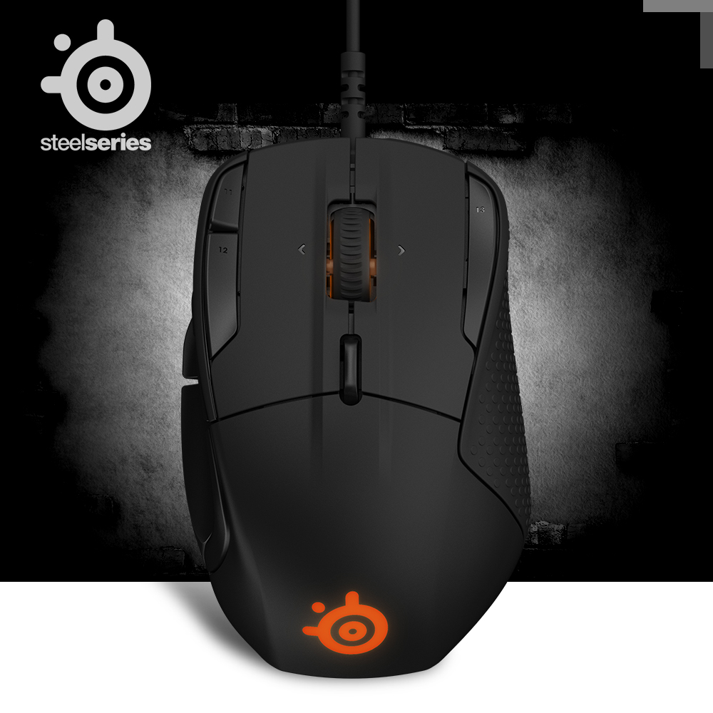 100% Original SteelSeries Rival 500 FPS RTS MMO LOL WOW Gamer Gaming Mouse Mice USB Wired 6500 DPI Optical Mouse Black Edition image