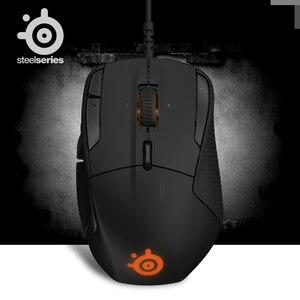 Image 1 - 100% ratón óptico SteelSeries Rival 500 FPS RTS MMO LOL WOW, ratón para videojuegos con cable USB, 6500 DPI, edición negra, Original