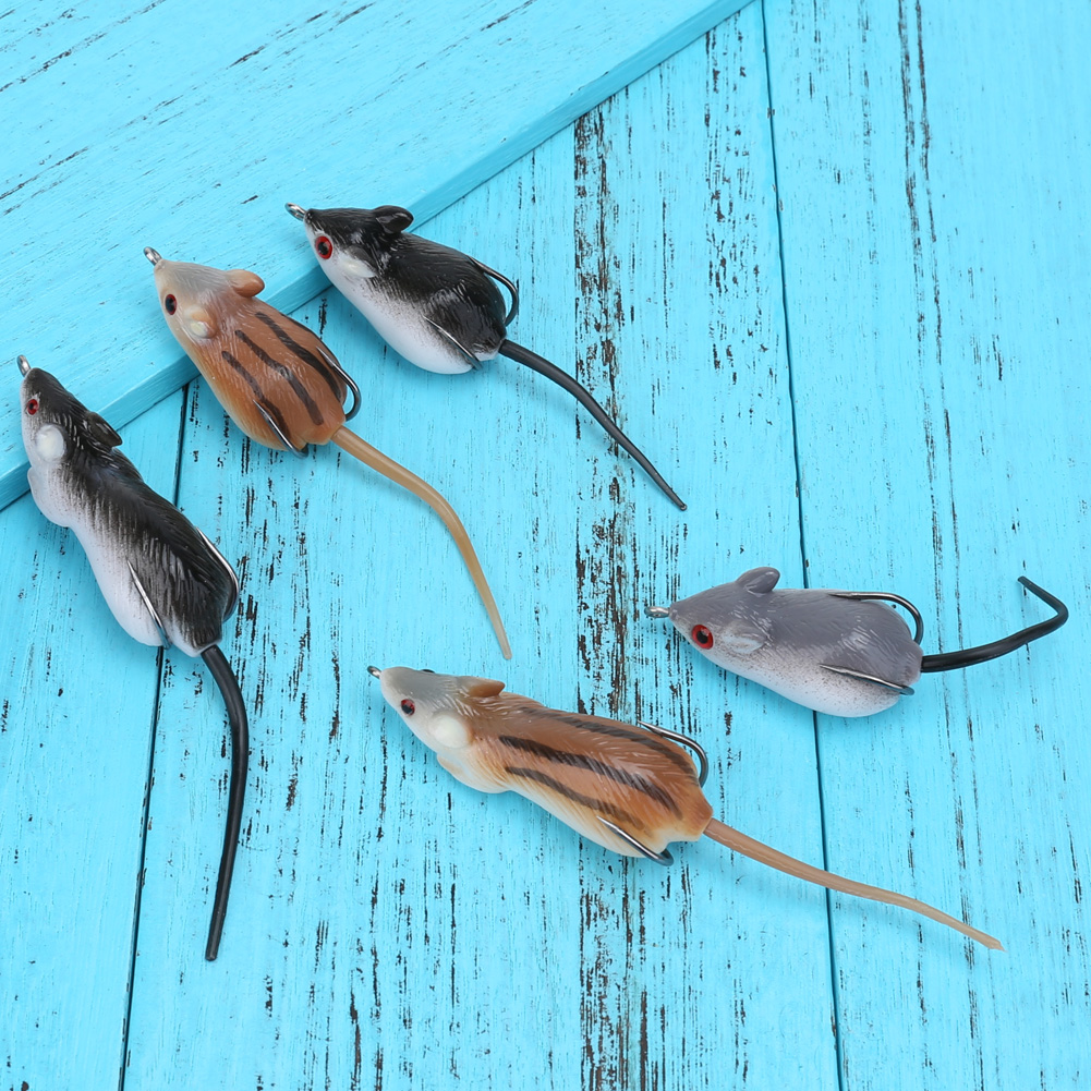 5pcs Artificial Soft Mice Shape Fishing Lure Bait Strong Simulation +Sharp Hook +Durable Box Fishing Tackle Sets for Snakehead 5pcs box mouse shape fishing lure bait soft fishing baits tackle box accessory tool metal spoon fishhook fishing artificial lure