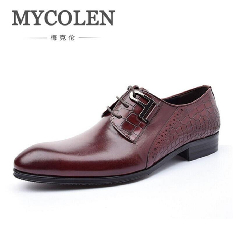 MYCOLEN Luxury Italian Genuine Cow Leather Business Leather Dress Shoes Lace-Up Office Suit Shoes Wedding Classic Men Shoes men shoes wedding dress italian style men oxford genuine leather lace up black flats shoes luxury brand shoes sapatos homens
