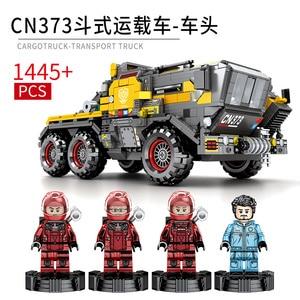 Image 5 - Sembo técnica cidade transportadora veículo caminhão a terra errante carro astronauta brinquedo conjuntos de construção tijolo cidade compatível crianças brinquedos