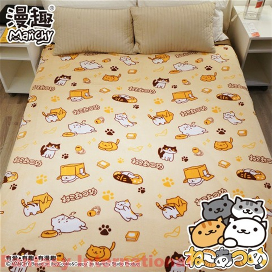 Game Neko Atsume Coral Silky Flannel Bedding Throw Blanket Rug Soft Daily Quilt Carpet Cute New