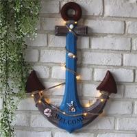 3D Mediterranean LED Light Wood Anchor Hook Bar Nautical Marine Wall Decor Blue Anchor Craft
