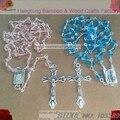 6*4mm rosa céu azul facet cristal colar do rosário, rosário religioso, rosário jesus crucifixo rosário com SENHORA de FÁTIMA rosário central