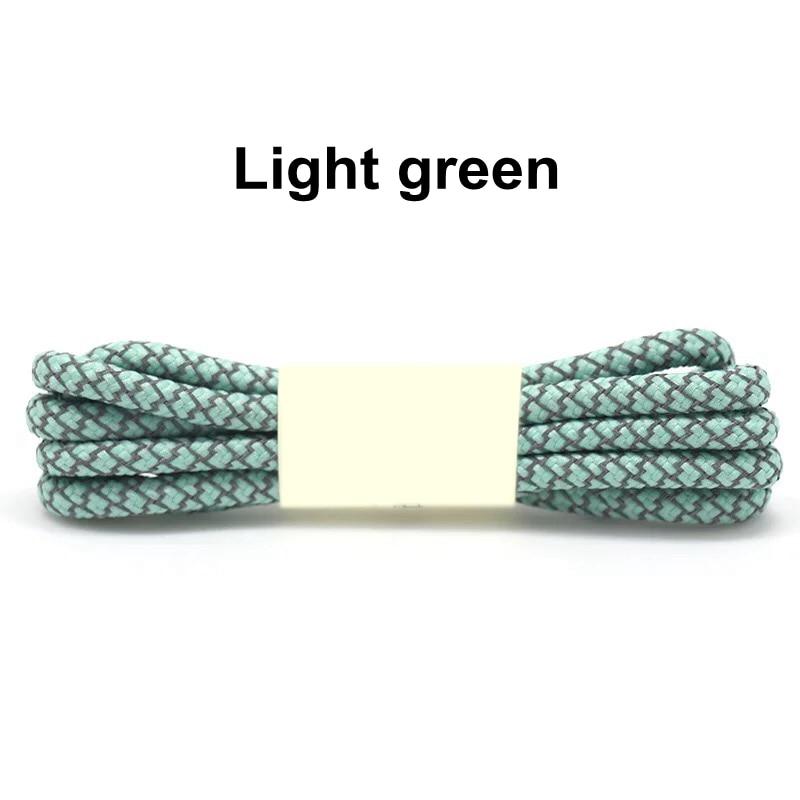 1 пара 100/120/140/160 см флуоресцентные кроссовки шнурков спортивные шнурки 3 м отражающий круглый обувь на шнуровке кружева светлые шнурки - Цвет: Light green