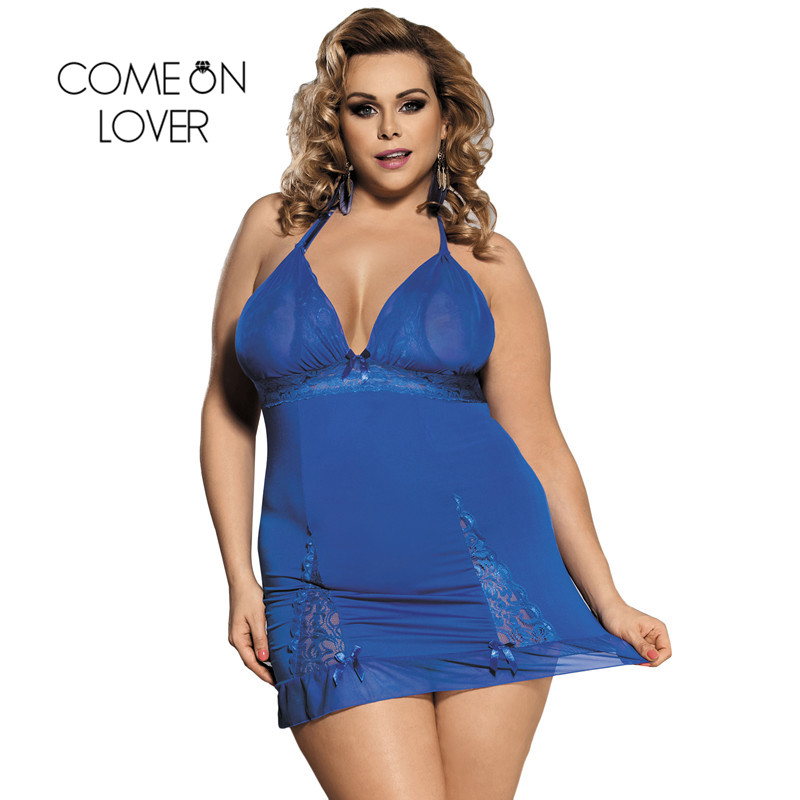 Comeonlover Nuisette Grande Taille Sexy Big Size Blue Lace Babydoll Lingerie With G string Sexy Transparent Nightwear RI80284