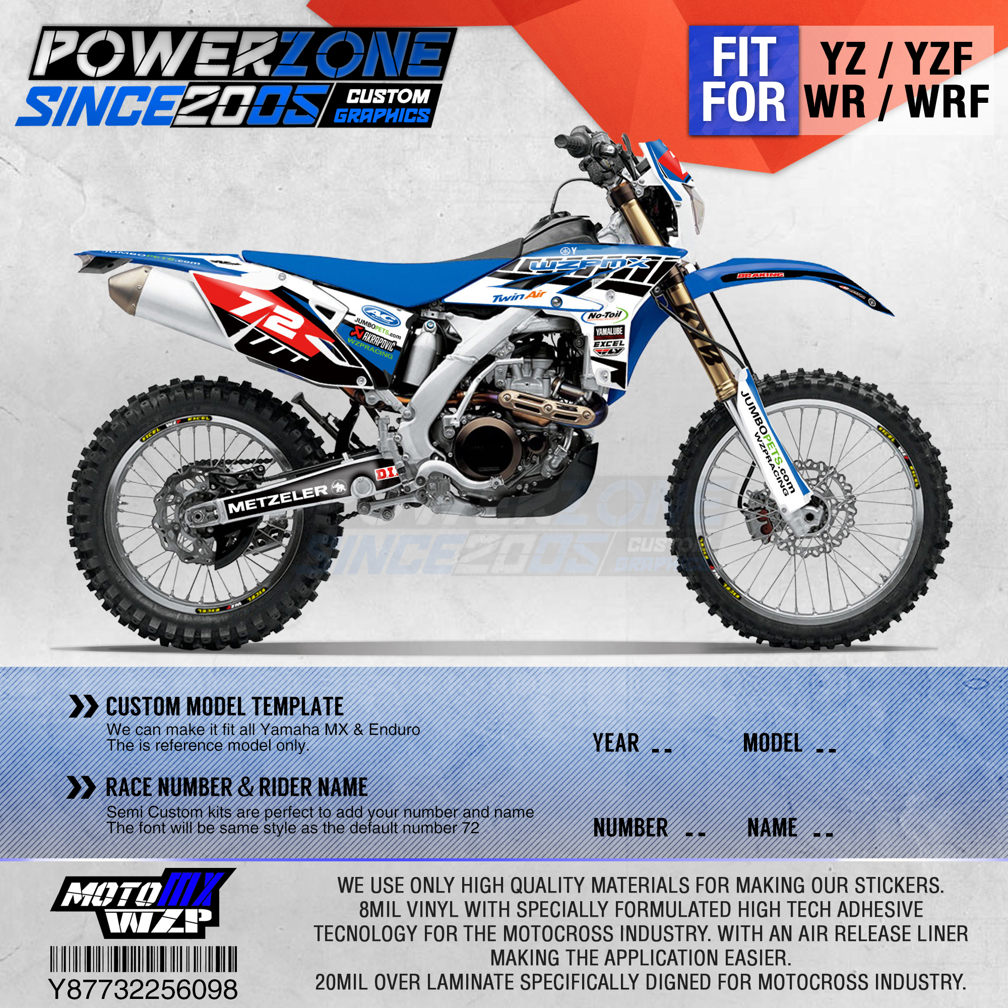 PowerZone Customized Team Graphics Backgrounds Decals 3M Custom <font><b>Stickers</b></font> For <font><b>YAMAHA</b></font> YZF250 2010-2013 <font><b>WR450F</b></font> 2012-2015 YZ WRF 098 image