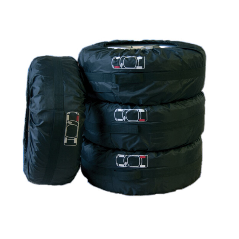 Bildäck Däckskydd för sommarvinter Polyester Auto Däckskydd Förvaring Väskor Svart Hjul Tillbehör för Sedan SUV