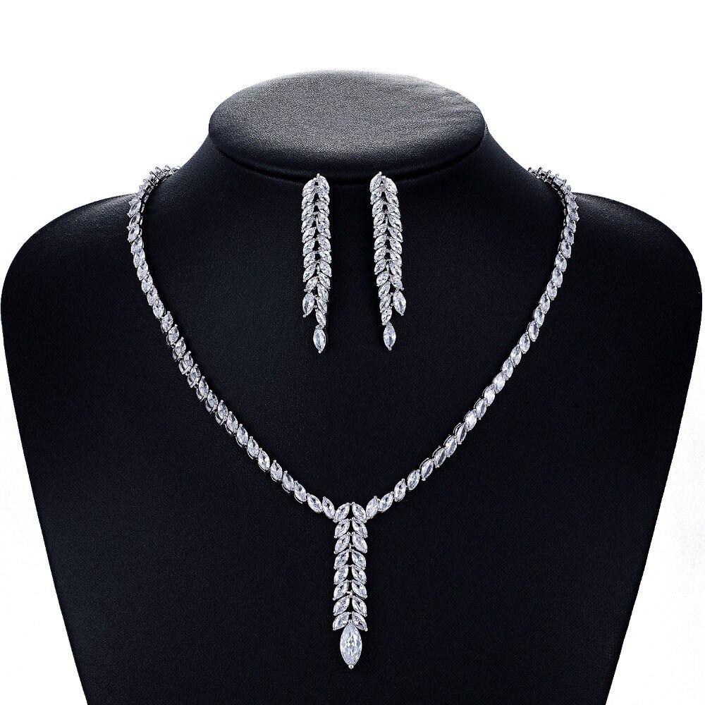 Cristal CZ cubique zircone mariée mariage collier boucle d'oreille ensemble bijoux ensembles pour femmes accessoires CN10080