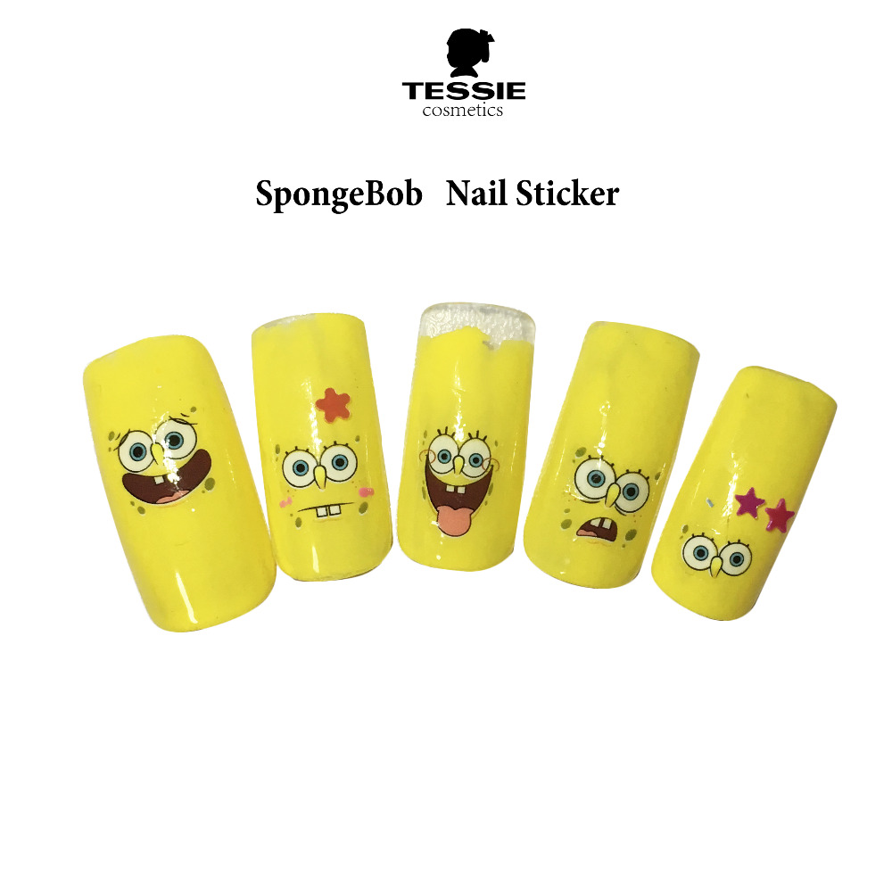 ᗕspongebob cartoon nail art decorations water transter nails ...