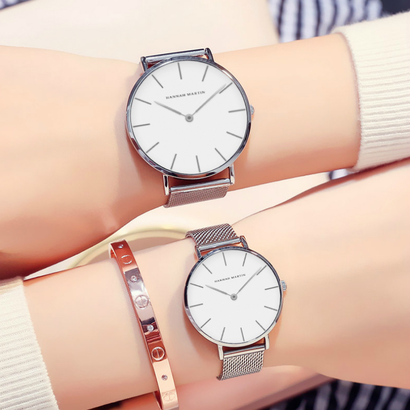 Unique Couple Watches Top Brand Rose Gold Silver Casual Lover's Watches Stainless Steel Quartz Watch Simple Atmosphere Clock