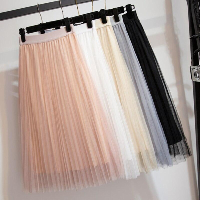 Women s Tulle Plain Pleated Skirt 2019 New Fashion Black Beige White Pink Grey Mesh