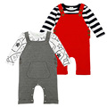 2017 New Baby Boys Girls Brand Clothes Sets Roupas Infantis Striped T-shirt+Bib Pants 2pcs Infant Outfits Newborn Baby Clothes