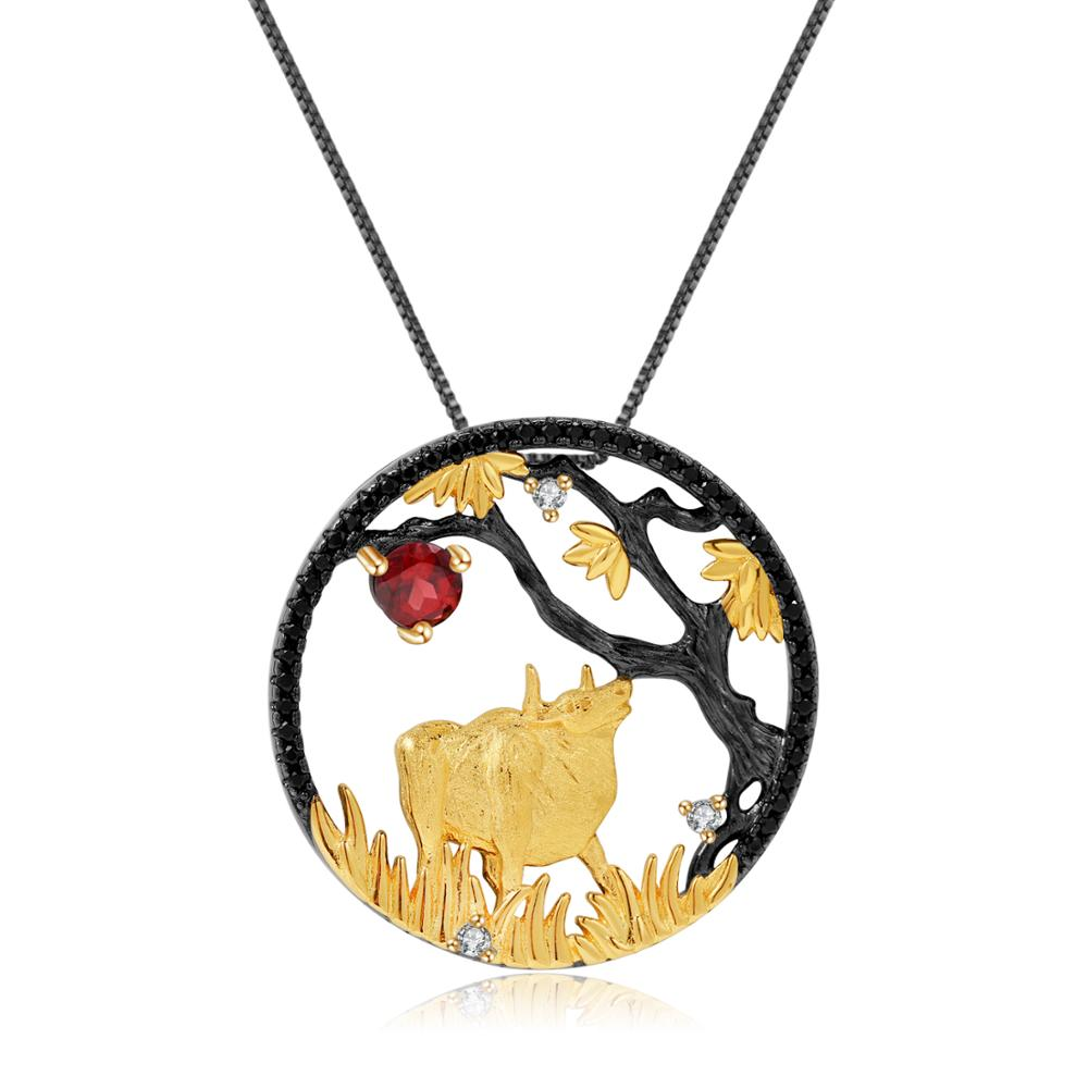 Gem S Ballet 925 Sterling Silver Plated Gold Ox Chinese Zodiac Jewelry Natural Red Garnet Handmade Pendant Necklace For Women Pendants Aliexpress