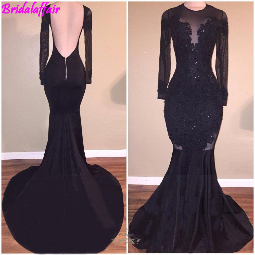 Sexy Black Mermaid   Prom     Dresses   2019 Long Sleeves Open Back Evening Gowns Party Gowns Gala Jurken Evening Wear Party Gown