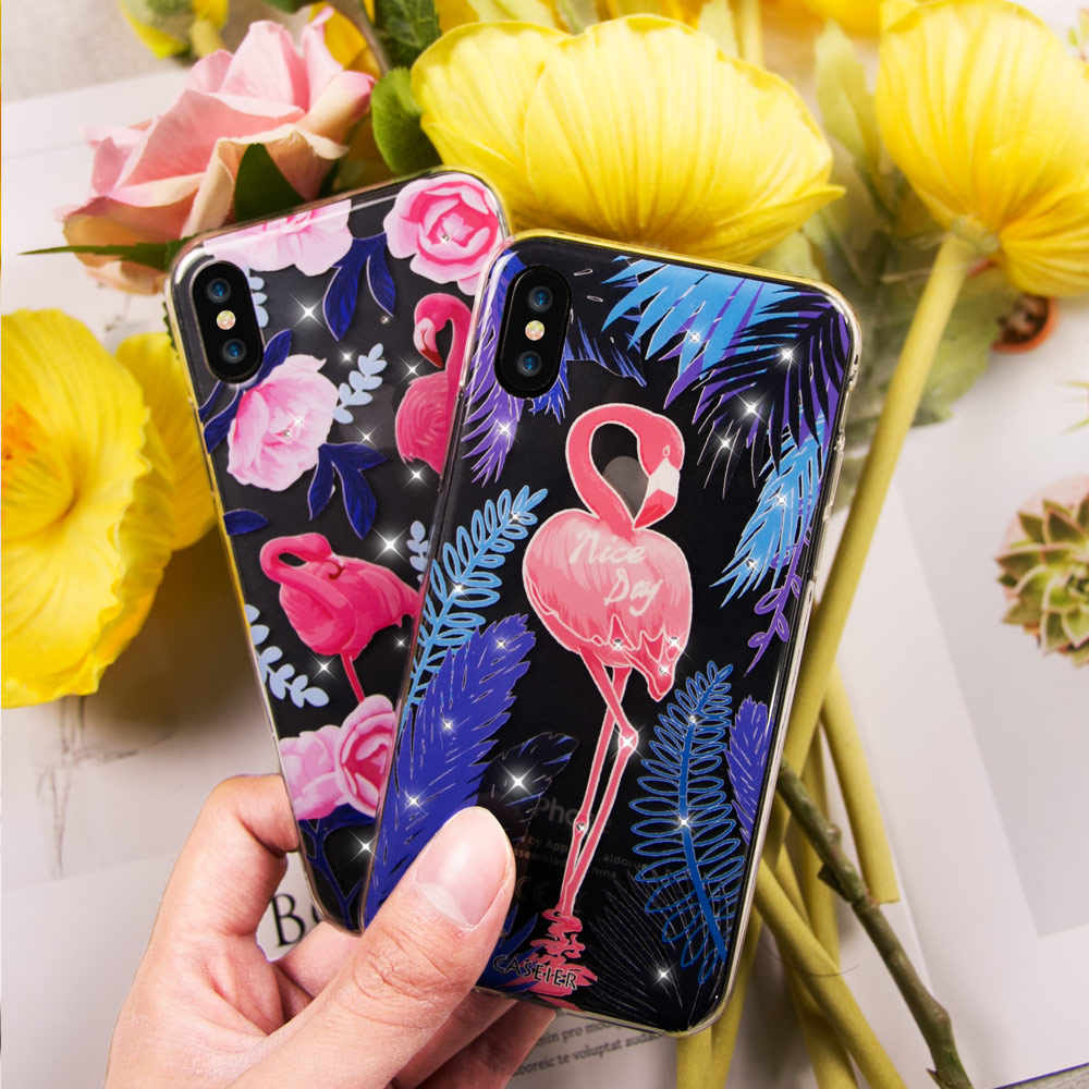 Caseier чехол для iPhone X Блестящий Алмазный Мягкий силиконовый чехол для iPhone 6 6s 7 8 Plus Фламинго горный хрусталь чехол