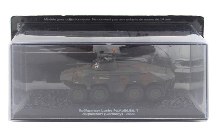 1/72 the German army Luchs Pz.Aufkl.Btl.7 wheeled armored vehicle detection vehicle model Alloy collection model Holiday supra cgs 310 black