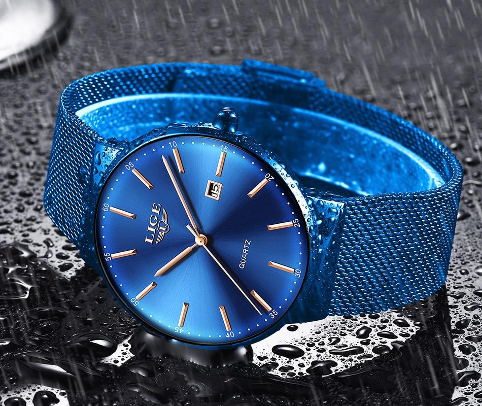 HTB1uPnLaULrK1Rjy1zbq6AenFXaT Relogio Masculino New Mens Watches LIGE Top Brand Luxury Fashion Watch Slim Mesh Date Waterproof Quartz Watch For Men Blue Clock