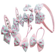 Kids Girls Headwear Sets Hairpins Elastic Hair bands Handmade Dots Headbands Accessories Clips