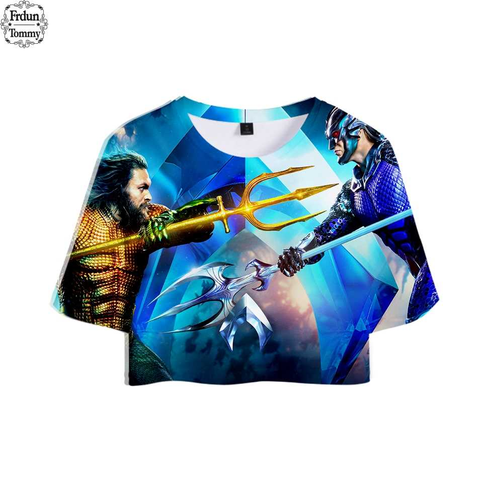 New 3D Aquaman Color Suit Sexy Dew Belly Tshirt New Style Sexy Lumbar Short Tshirt Color Suit Fashion T Shirt