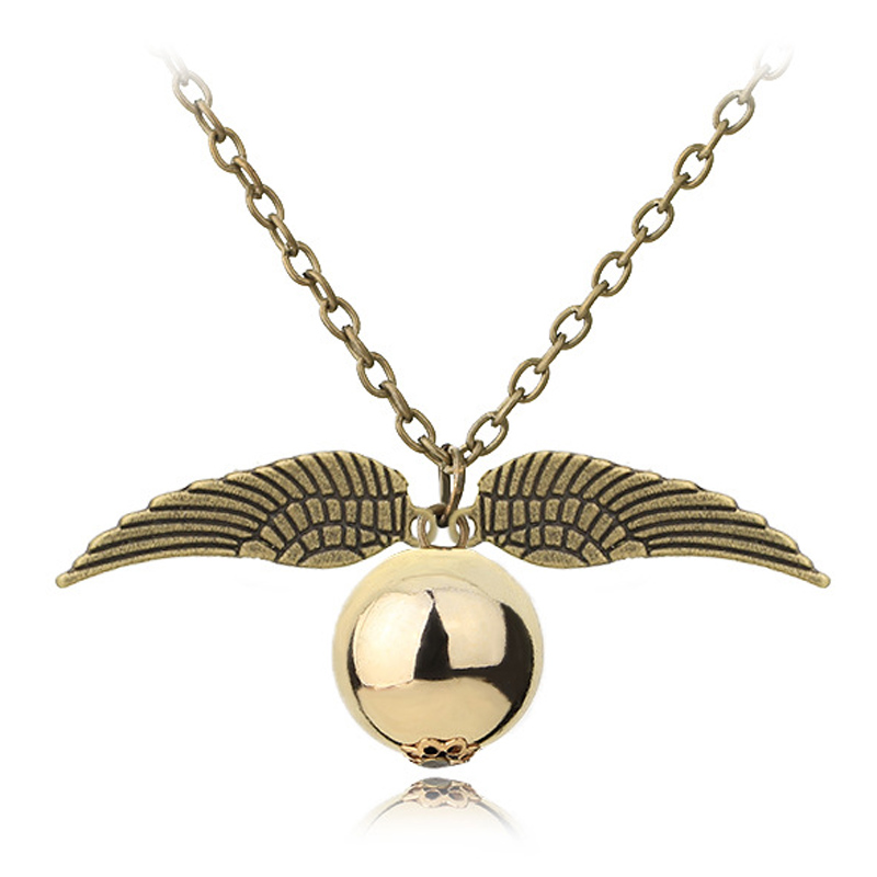 CHIELOYS Hot European and American Movie Accessories Harry Pot Magic Necklace The Deathly Hallows Snitch Gold Necklace