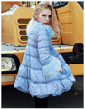 New 2016 Winter Women Jacket Long Duck Down Luxury Fur A-line Parkas Feminine Outerwear Three Quarter Sleeves Overcoat Abrigos
