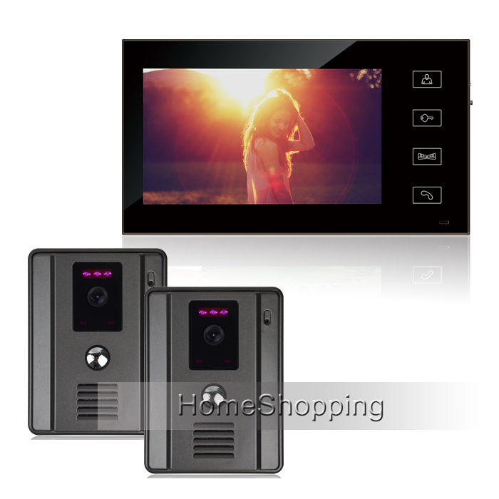 FREE SHIPPING New Wired 7 Color Touch Screen Video Door Phone Intercom System + 2 700TVL Doorbell Cameras + 1 Monitor IN STOCK brand new wired 7 touchkey color screen video door phone intercom system 1 monitor 1 doorbell camera free shipping in stock