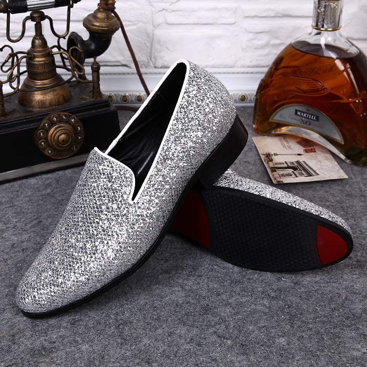 Silver Glitter Mens Wedding Shoes Flat Men Dress Shoes Leather ...