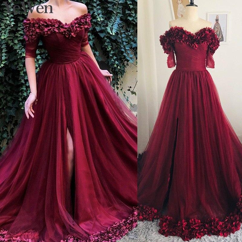 Sexy épaule dénudée vin rouge robes de soirée 2019 demi manches Simple fleurs plage robes de soirée formelle robe de bal longue 6002