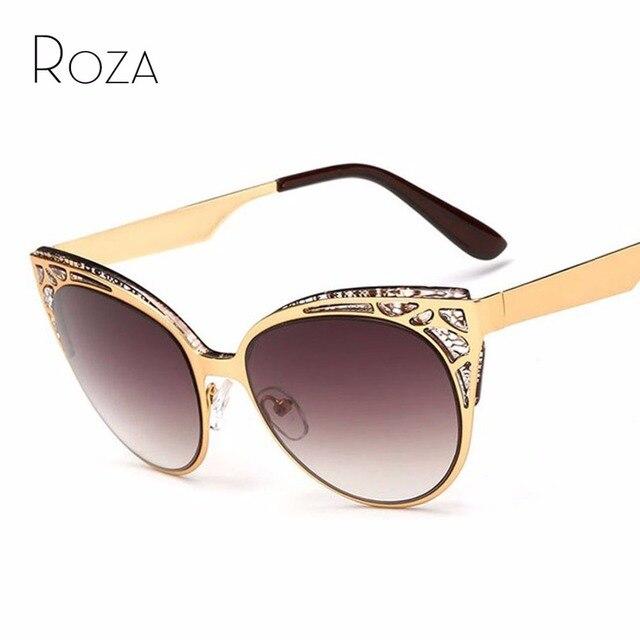 5b7f12e0a9385 Roza mais nova marca cat eye sunglasses mulheres óculos de armação de metal  oco de alta