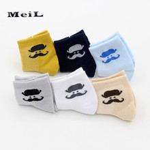 MEIL 6pairs/Children's socks wholesale cotton thin summer style booties mesh breathable children cartoon moustache baby socks