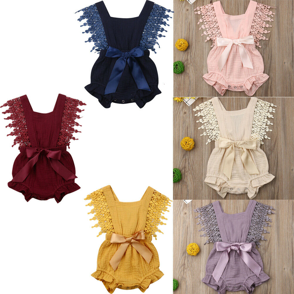 Emmababy Newest Fashion Newborn Baby Girl Clothes Solid Color Sleeveless Lace Tassels Romper Jumpsuit Outfit Sunsuit