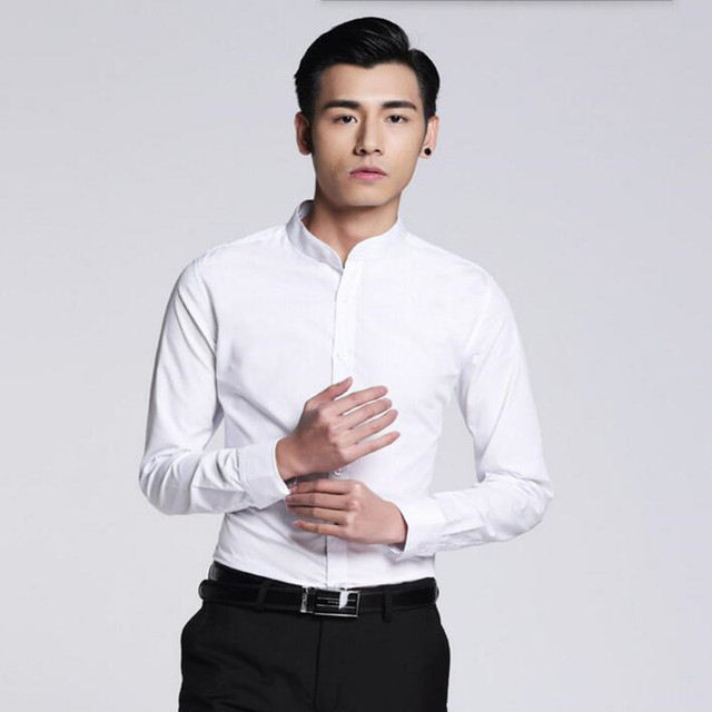Newest style men shirt simple fashion groom shirt prom white tailor ...