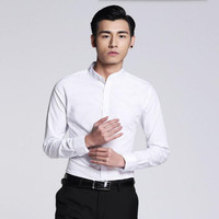 Newest Style Men Shirt Simple Fashion Groom Shirt Prom Shirt White Tailor Made Mandarin Collar Formal