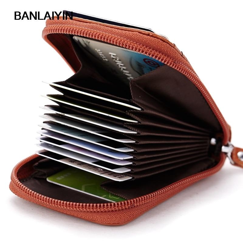 Genuine Leather Credit Card Holder Men Women ID Card Case Bank Credit Card Wallet Zipper Purse|leather credit card holder|credit card holder|credit card wallet - title=