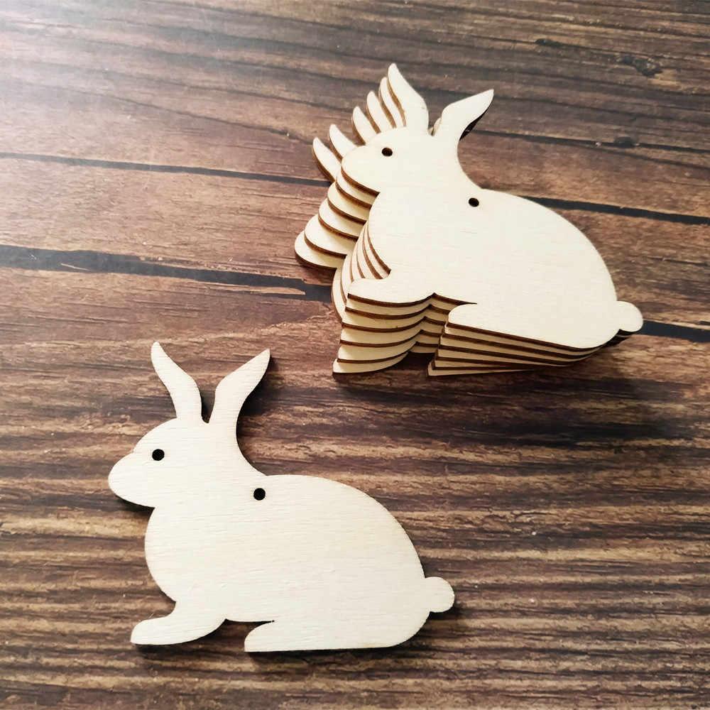 10pcslot Wooden Bunny Laser Cut Wood Cutout Plywood Figure Wood