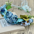 Korean Blue Fairy Girls Flower Ribbon Wreath Weding Bride Beach Floral Headband Adjustable Hair Bands Floral Garlands Headpiece