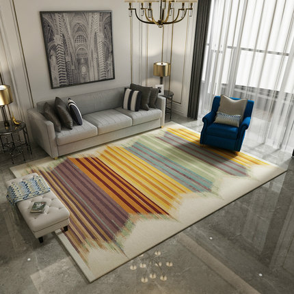 Living room geometric striped carpet Nordic light luxury modern minimalist bedroom full bed blanket