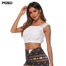 PGSD Summer Simple Fashion Pure Women Clothes Sexy Club Lace stitching Navel exposed short chest-wrapped white Camis Vest female