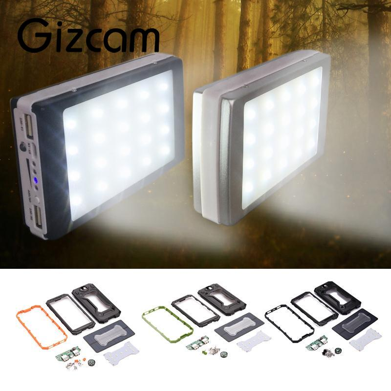 Gizcam 3 in 1 Outdoor Camping Dual USB Port External Solar Panel Power Bank Box Charger Case DIY Kit Set with Compass LED Light