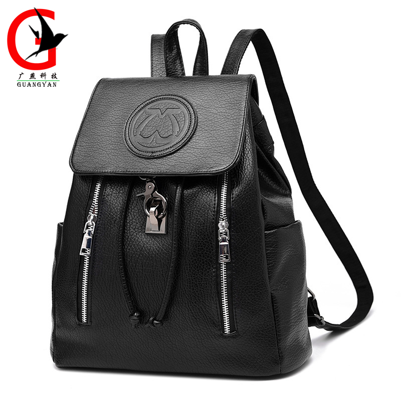ФОТО Fashion Leather Backpack Women Backpack For Girls Backpack Girls School Bags Shoulder Women's Back Pack KLY-25
