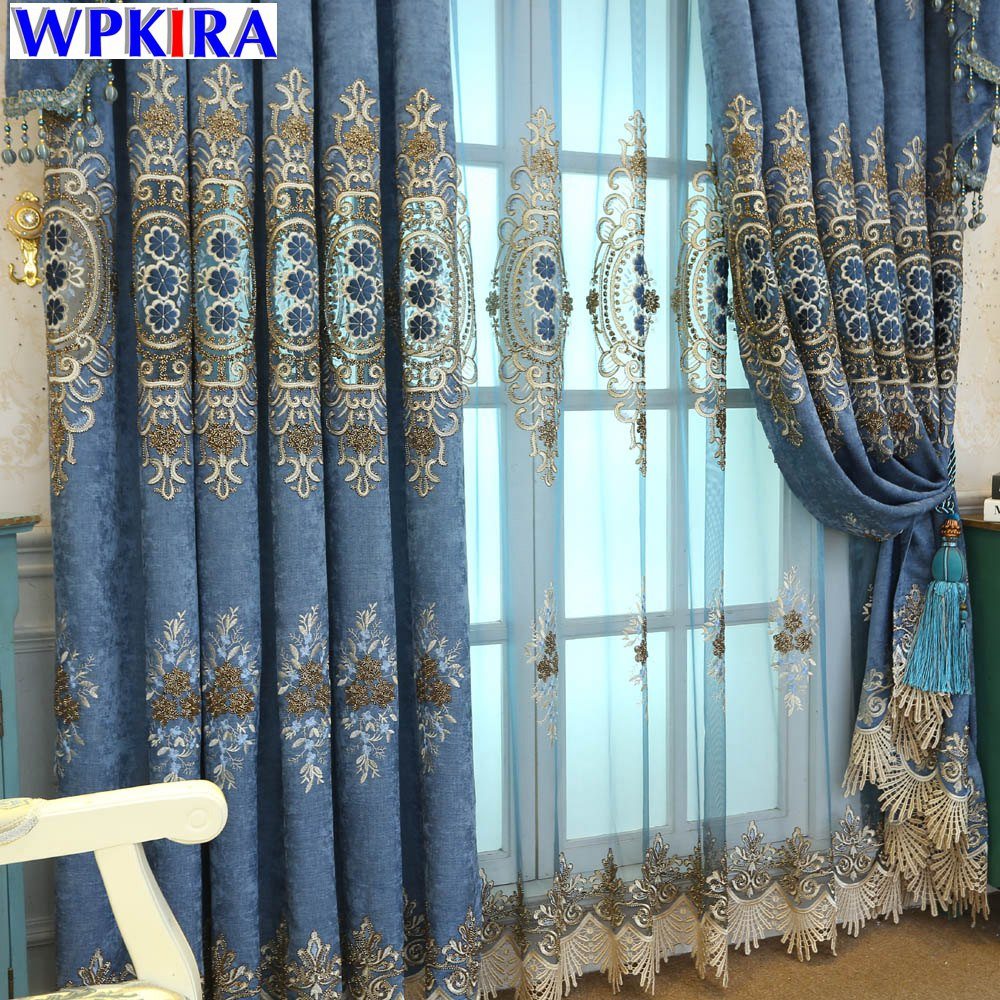 Embroidered Brown For Living Room Curtains Window Treatments Blue