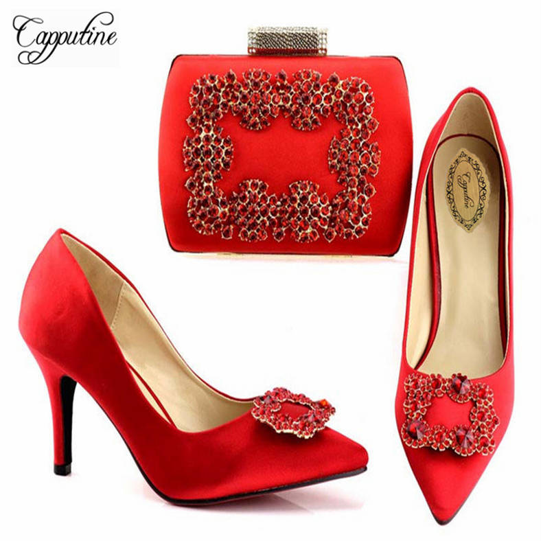 Capputine Latest Red Color Italian Woman Shoes And Bag Set Fashion African Spike Heels Shoes And Bag Set For Wedding Dress A1683 something red wedding shoes customized sparkly diamond red high heels platfrom party evening shoes italian shoes and bag set