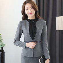 Women business suits long sleeve fashion elegant office ladies suit Simple and slim pants suits for