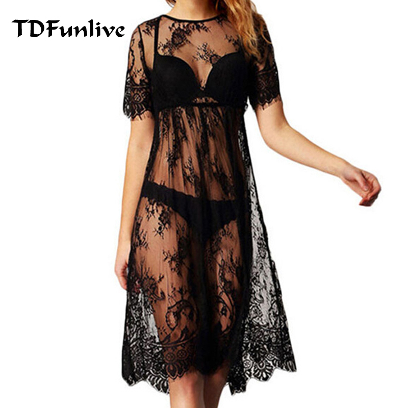 TDFunlive Black Summer Women Sexy Swimsuit Lace Crochet Bikini Cover Up Swimwear Beach Dress Pareo Beach Tunic Cover Ups Capes