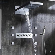 Luxury Bathroom Fixtures Wall Mounted Waterfall Shower System Rainfall Shower Head Hot / Cold High Flow Massage Mixer Faucet Set luxury painting bathroom rain mixer shower combo set wall mounted rainfall shower head system black gold plated shower faucet