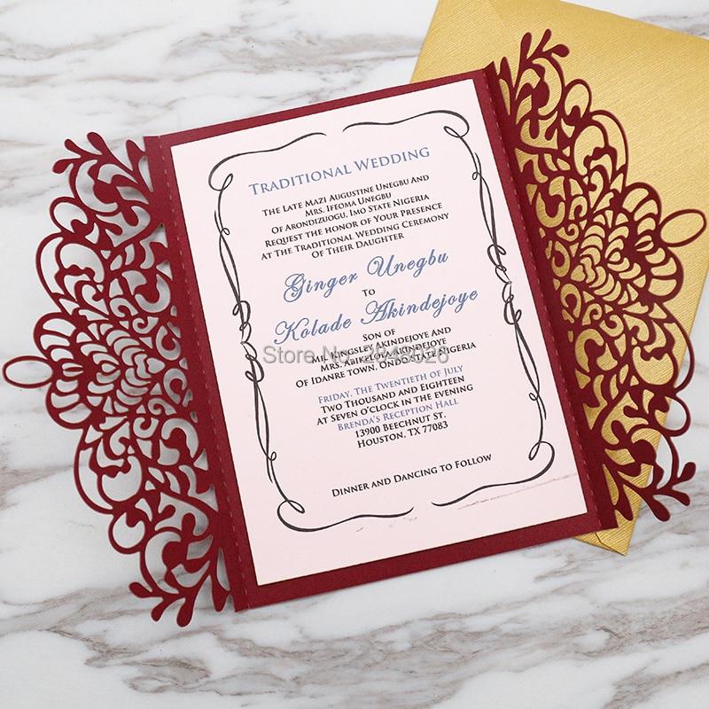 50 Pcs Personalized Laser Cut Elegant Wedding Invitation