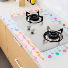 1pcs Pink Electrostatic Printed Kitchen Decorative Stickers Washable Flower Line Antifouling Sticker Diy Home Bathroom Ornaments
